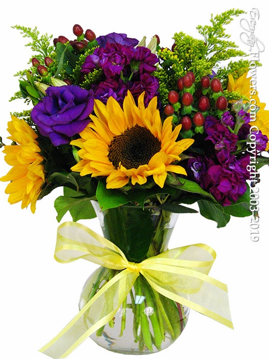 Sunflowers and Lisianthus