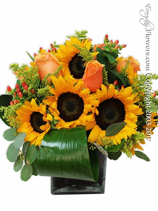 Sunflowers And Orange Roses