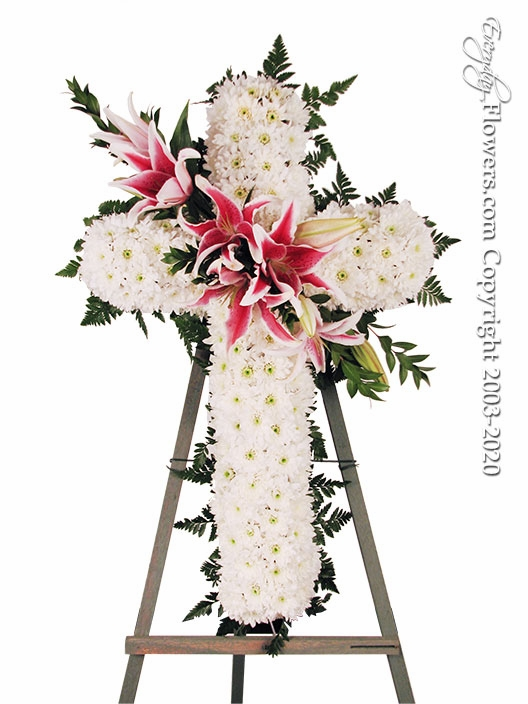 "Sympathy Cross With Stargazer Lilies <p style=""color:red;"">Sold Out</p>"