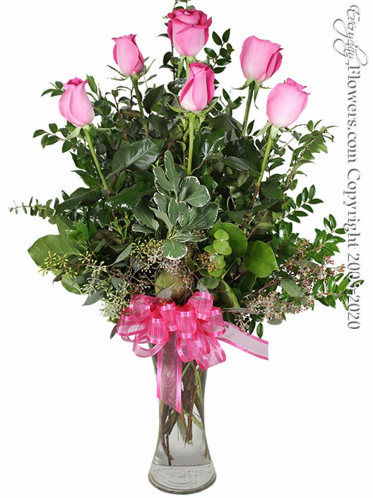 "The Pink Rose Bouquet <p style=""color:red;"">Upgrades Available Add White Or Pink Lilies</p>"