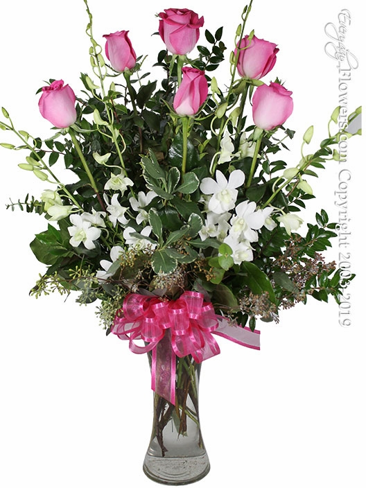The Pink Rose Bouquet Featuring White Orchids