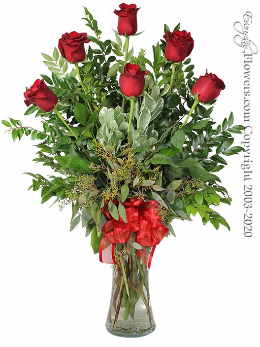 """The Red Rose Bouquet <p style=""""color:red;"""">Upgrades Available Add White Or Pink Lilies</p>"""