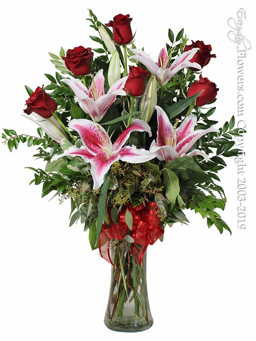 The Red Rose Bouquet Featuring Stargazer Lilies