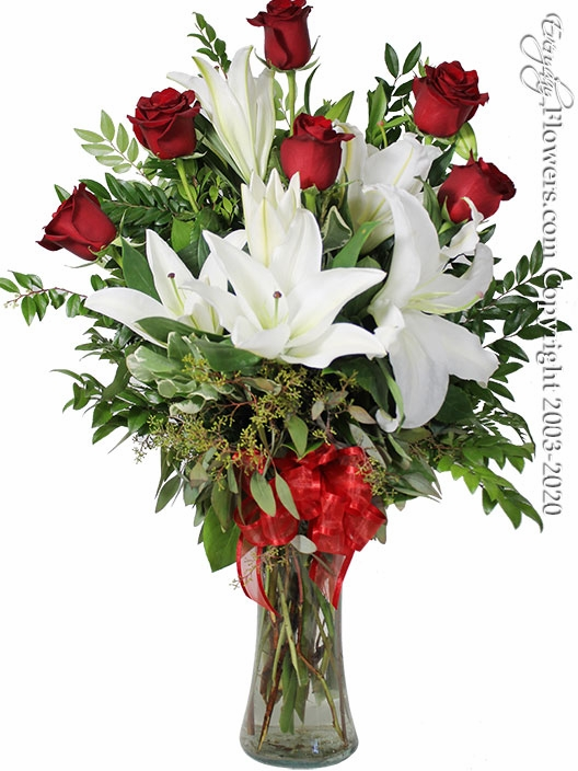 The Red Rose Bouquet Featuring White Lilies