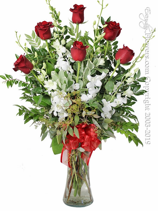 The Red Rose Bouquet Featuring White Orchids