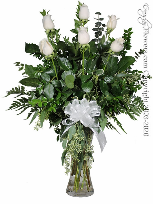 "The White Rose Bouquet <p style=""color:red;"">Upgrades Available Add White Or Pink Lilies</p>"