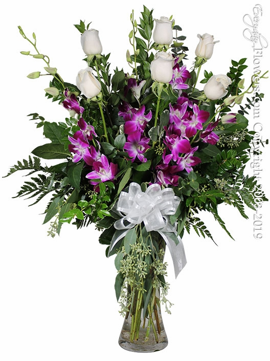 The White Rose Bouquet Featuring Purple Orchids