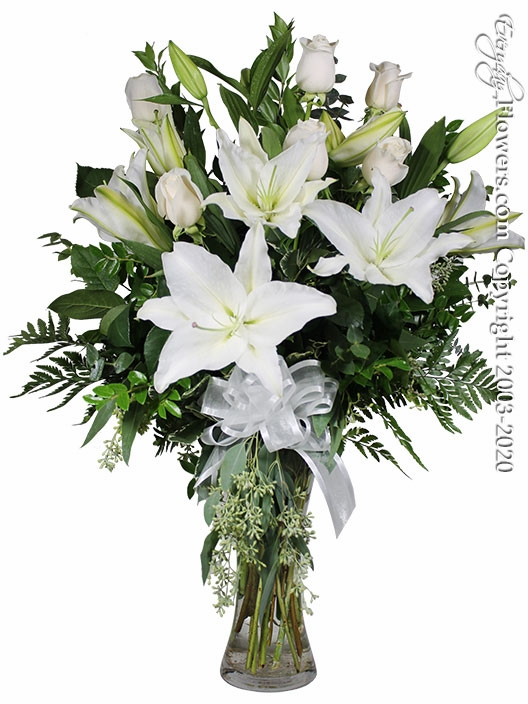 The White Rose Bouquet Featuring White Lilies