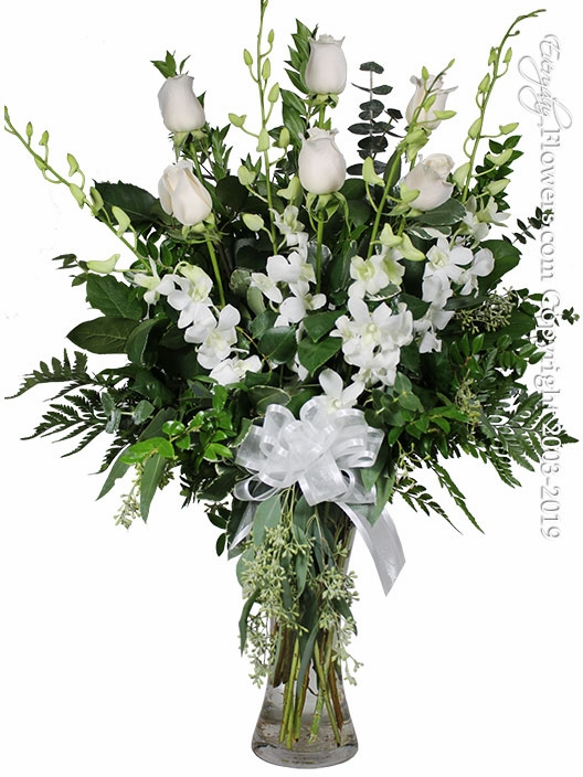 The White Rose Bouquet Featuring White Orchids