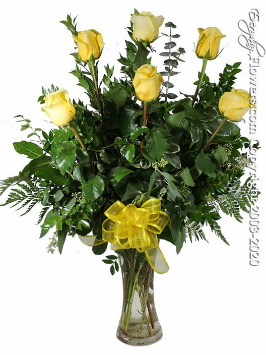 "The Yellow Rose Bouquet<p style=""color:red;"">Upgrades Available Add White Or Pink Lilies</p>"