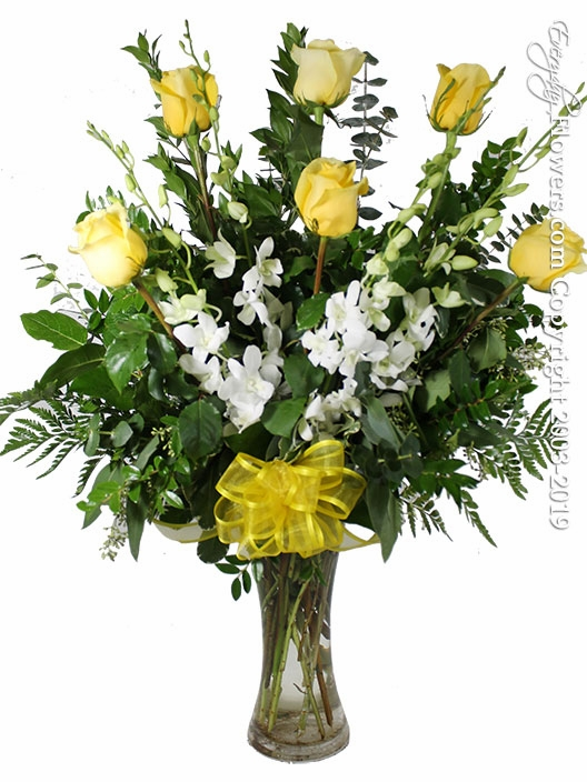 The Yellow Rose Bouquet Featuring White Orchids
