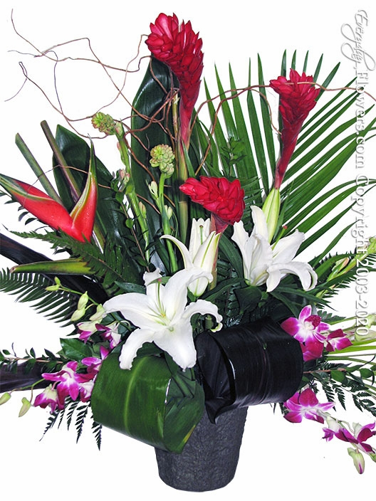 "Tropical Flowers Tribute <p style=""color:red;"">Not Available</p>"