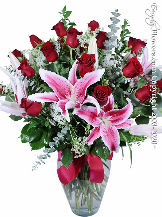 Two Dozen Red Roses And Stargazer Lilies