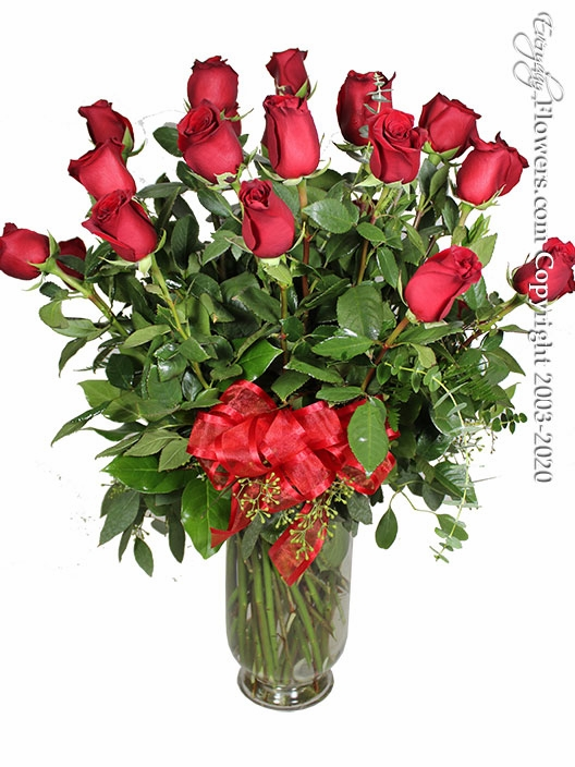 Two Dozen Long Stem Valentines Roses