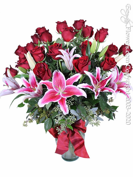 """Two Dozen Valentines Roses And Lilies <p style=""""color:red;"""">Sold Out</p>"""
