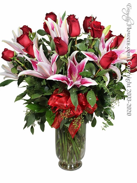 Two Dozen Long Stem Valentines Roses And Lilies