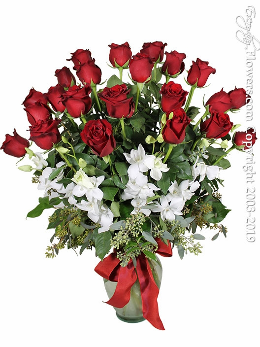 Two Dozen Valentines Roses With Orchids