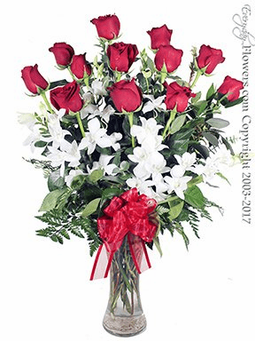 Dozen Valentines Roses And Orchids