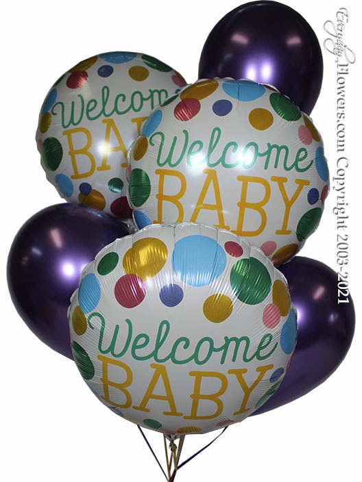 Welcome Baby Dots Balloon Bouquet