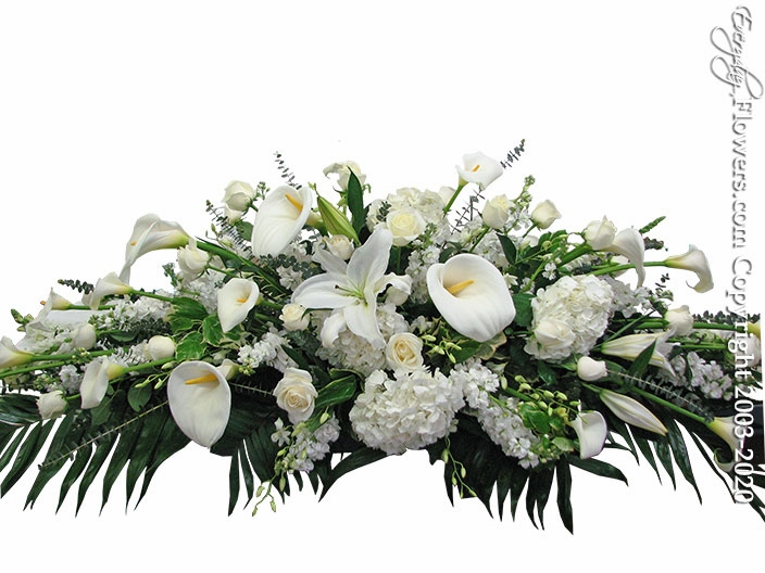"""White Casket Flowers <p style=""""color:red;"""">Please Contact Us For Availability</p>"""