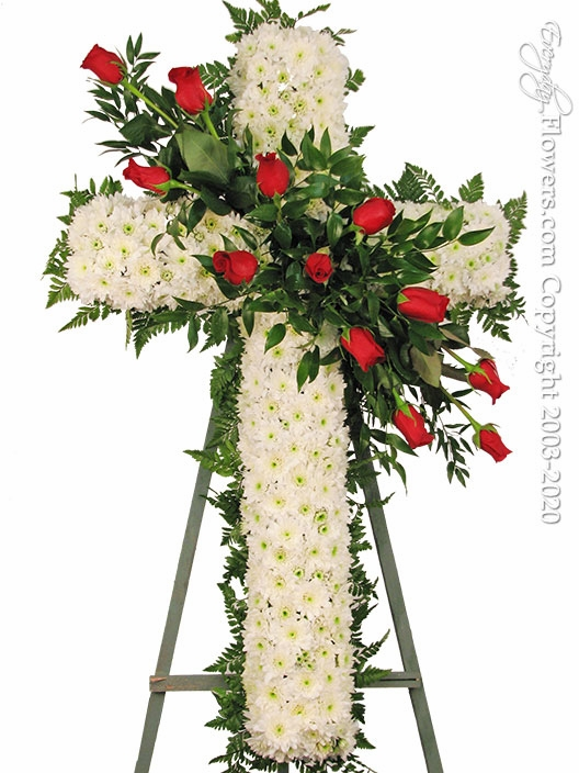 "White Funeral Cross With Red Roses <p style=""color:red;"">Please Contact Us For Availability</p>"