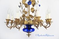 French 8-candle brass and blue glass chandelier, circa 1890s