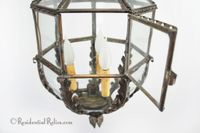 French 3-candle copper and glass paneled lantern, circa 1900s