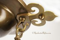 4-light Arts and Crafts flush-mount brass chandelier, circa 1910s