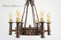 Cast copper and brass 6-candle Tudor chandelier, circa 1910s