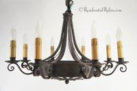 8-candle English wrought iron chandelier, circa 1920s