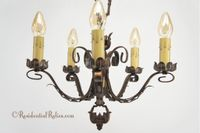 Cast and wrought iron 5-candle chandelier, circa 1920s