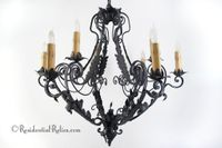 Large French wrought iron 9-candle chandelier, circa 1930s
