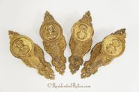 Set of 4 gilt cast brass curtain tiebacks, circa 1890s