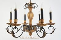 Italian carved wood 6-candle chandelier, circa 1960s