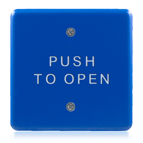"BEA 4.5"" Square Blue-Faced Push Plate w/white ""Push to Open"" text 10PBS45B"