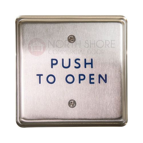 "BEA 4.5"" Square Push Plate w/blue ""Push to Open"" text only 10PBS45"
