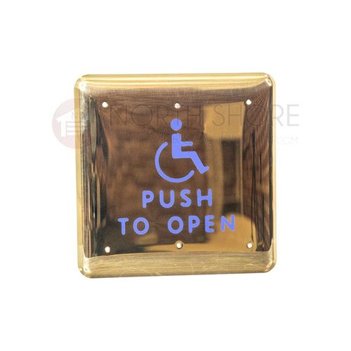 """BEA 4.75"""" Square Bright-Finish Brass Push Plate w/blue Handicap Logo & """"Push to Open"""" text 10PBS1BB"""