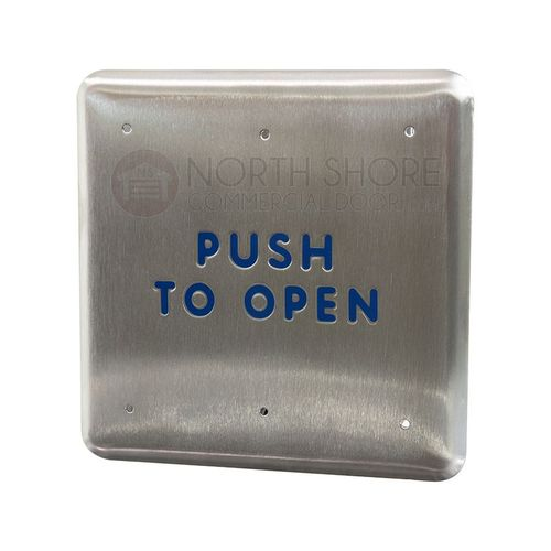 """BEA 4.75"""" Square Push Plate w/blue """"Push to Open"""" text only 10PBS"""