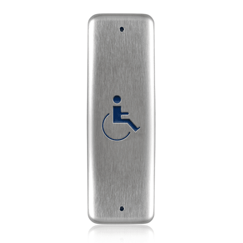 """BEA 1.75"""" x 4.5"""" Jamb Push Plate w/blue Handicap Logo only 10PBJMSLL MICROSWITCH hardwired"""