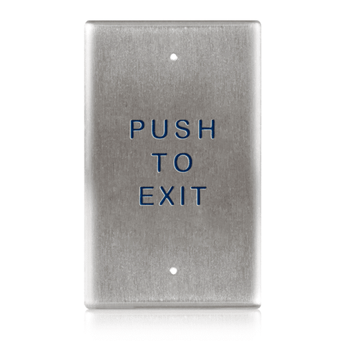 "BEA 2.75"" x 4.5"" Single Gang Push Plate w/blue ""Push to Exit"" text only 10PBO24E"