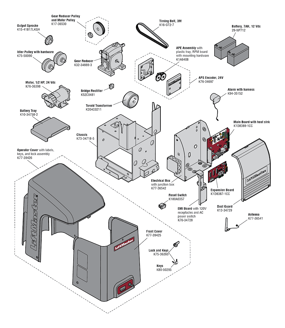 [NRIO_4796]   LiftMaster CSLU24UL Gate Operator Replacement Parts   Liftmaster Gate Openner Schematics      North Shore Commercial Door