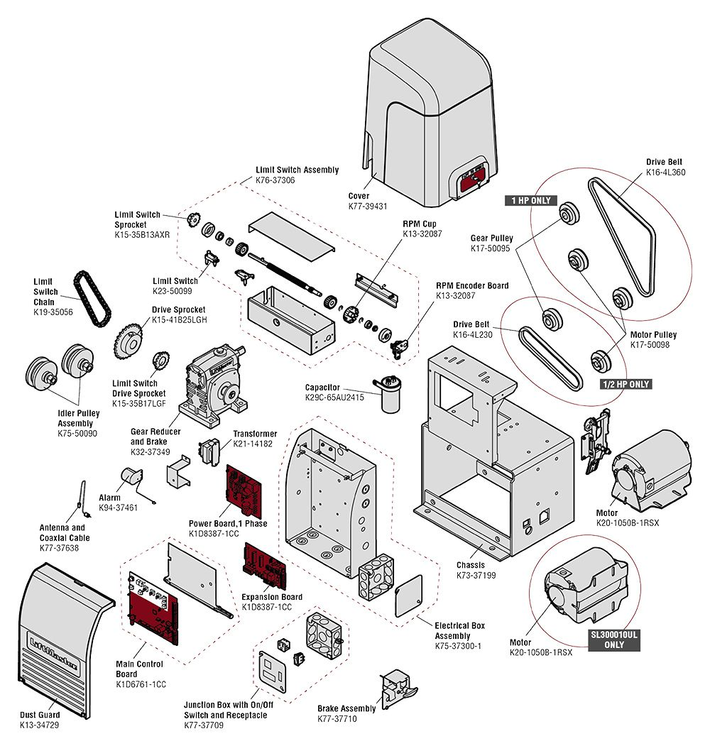 [DIAGRAM_5FD]  LiftMaster SL3000UL Commercial Gate Operator Parts   Liftmaster Gate Openner Schematics      North Shore Commercial Door
