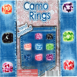 "Camo Hand Painted Rings 2"" Toy Capsules 250 pcs"