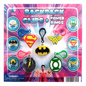 """DC Comics Backpack Clips & Power Rings 2"""" Toy Capsules 250 pcs"""