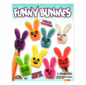 "Funny Bunny Pencil Toppers 1"" Toy Capsules 250pcs"