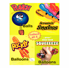 """Glitter Water bead Squeeze Balloons, Snakes, Punch Balls & Rocket Balloons 1"""" Toy Capsules 250pcs"""