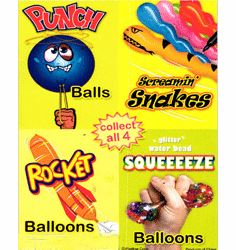 "Glitter Water bead Squeeze Balloons, Snakes, Punch Balls & Rocket Balloons 1"" Toy Capsules 250pcs"