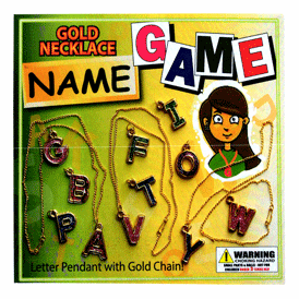 """Gold Neclace Name Game 2"""" Toy Capsules 250 pcs"""
