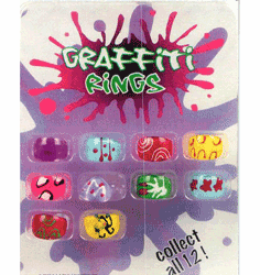 "Graffiti Rings1"" Toy Capsules 250pcs"