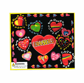 """Love Heart Erasers 2"""" Toy Capsules 250 pcs"""
